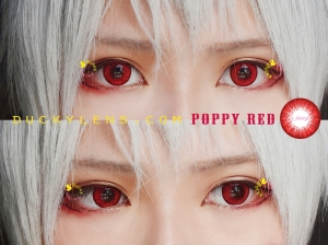 model review poppy red close up